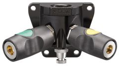 "Female threaded mixed double wall manifold - 3/8"" High Flow European and  1/4"" ARO 210 Interchange"